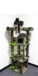 """ozyCatFurniture 75"""" Extra Large Cat Tree Tower Kitty Tree No Carpet with Green Leaves"""