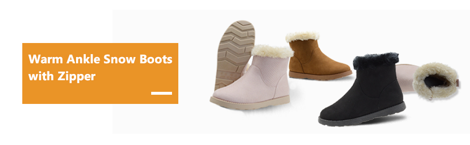 warm ankle snow boots with zipper
