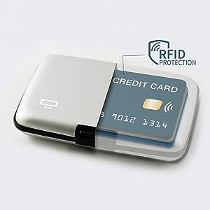 /Él/égant et Moderne Bleu Protection RFID pour Toutes Vos Cartes Clip pour Ceinture Design/é en France Peut contenir Jusqu/'/à 7 Cartes et Billets Portefeuille Rigide /& s/écuris/é