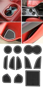 Bishop Tate for Challenger Car Door Window Armrest Cover Only for LHD Red Interior Window Control Switch Button Panel Trim ABS Accessories 4PCS for Dodge Challenger 2015 2016 2017 2018 2019