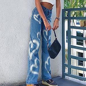 blue heart print jeans