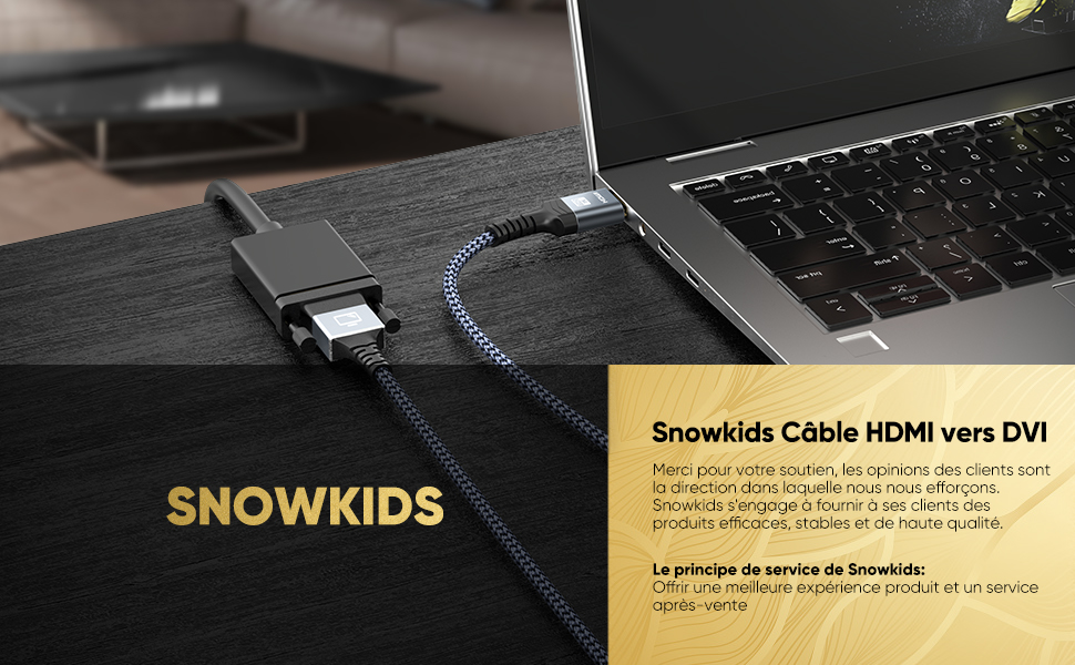 Haute Vitesse C/âble Adaptateur HDMI vers DVI Nylon Braided Snowkids Bidirectionnel C/âble HDMI DVI m/âle Soutien 1080P C/âble HDMI vers DVI 4.5m 3D pour Xb 360,PS4//3 HDTV DVI-D 24+1Pin
