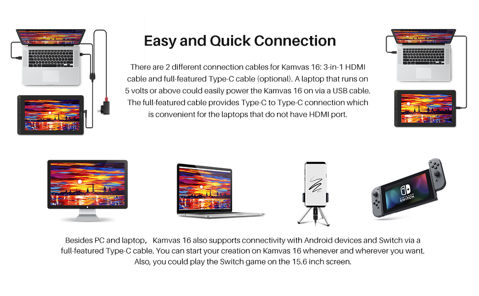 Easy connection easy to use kamvas 16 work with laptop, desktop, switch, android device