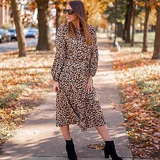 Women Midi Leopard Dress Long Sleeve High Waist Button Front Drawstring Wait Belt A-Lined Dress