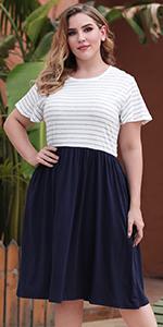 Nemidor Women's Striped Print Plus Size Short Sleeve Casual Tie Shirt Midi Fit and Flare Dress