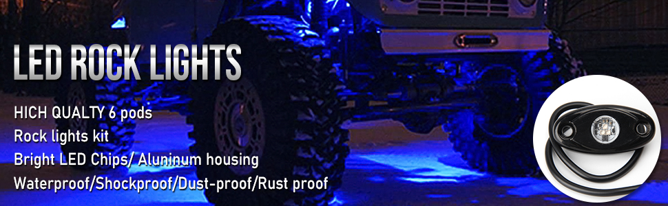 OL-16R03-6pc-B OPP ULITE Blue Led Rock Lights with 6 Pcs Single Blue for JK SUV Trucks RZR JL XJ UTV ATV TJ Off Road Car Boat Glow Trail Rig Lamp LED Light