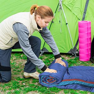 Die Aufbewahrung des Schlafsacks ist sehr praktisch