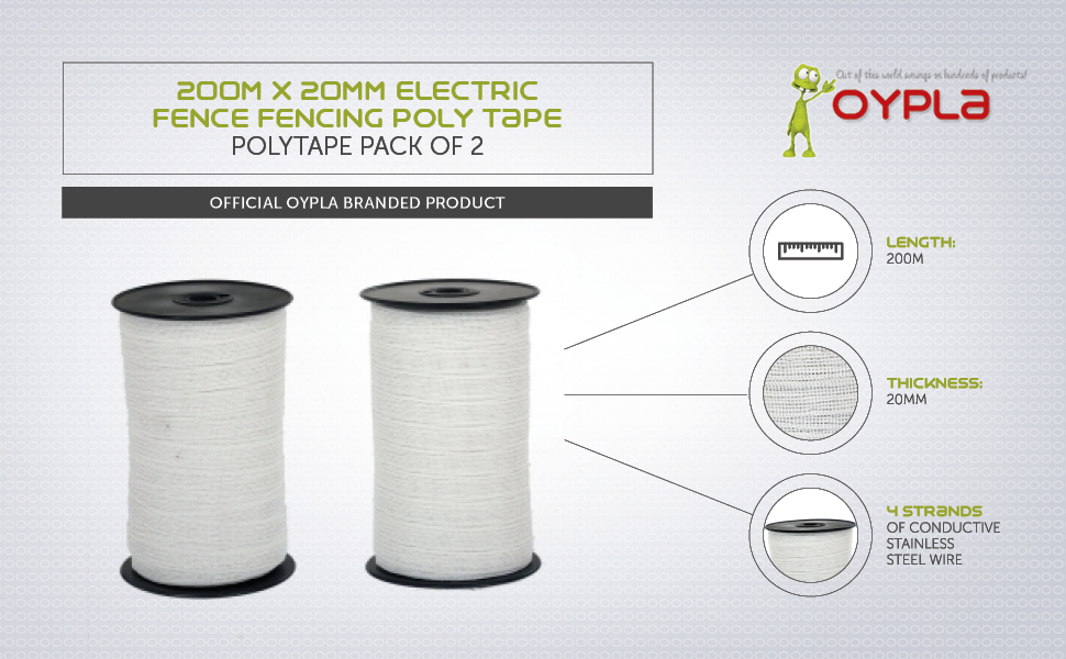2 x 200m x 20mm Electric Fence Fencer Fencing Poly Tape 6 SS Conductors Polytape