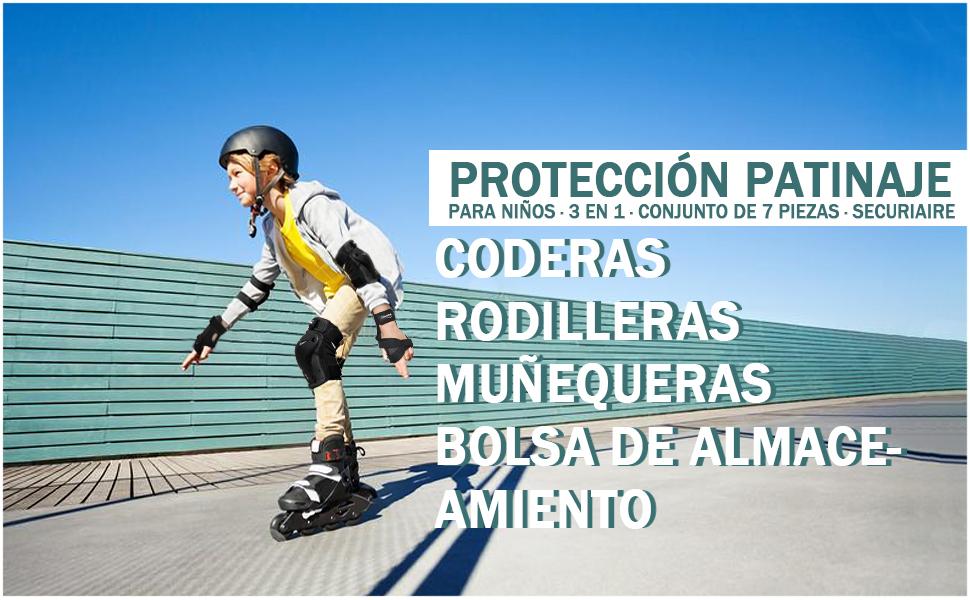 TOPOWN Protecciones Patinaje Set de Patinaje Protecciones de Patinaje Negro para Adultos ni/ño y ni/ña para Bicicleta BMX patineta monopat/ín y Otros Deportes