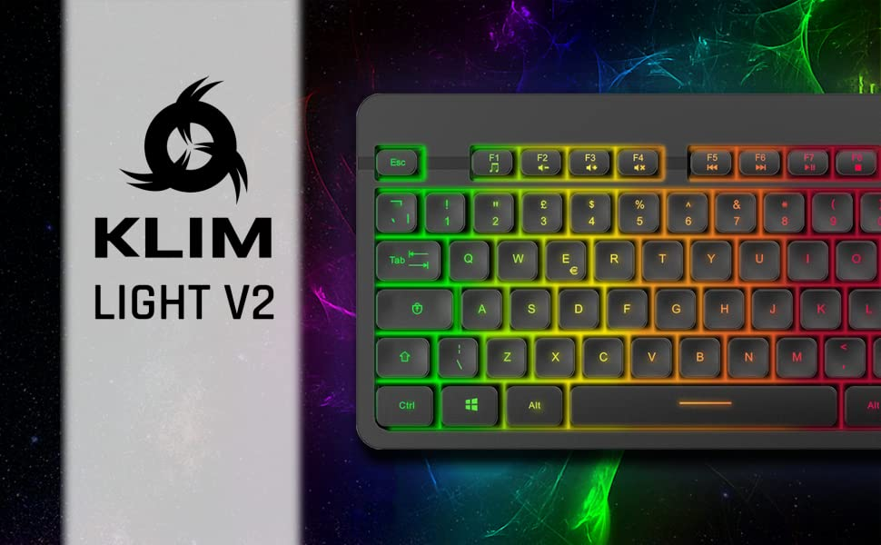 KLIM Light V2, wireless gaming keyboard, rechargeable keyboard