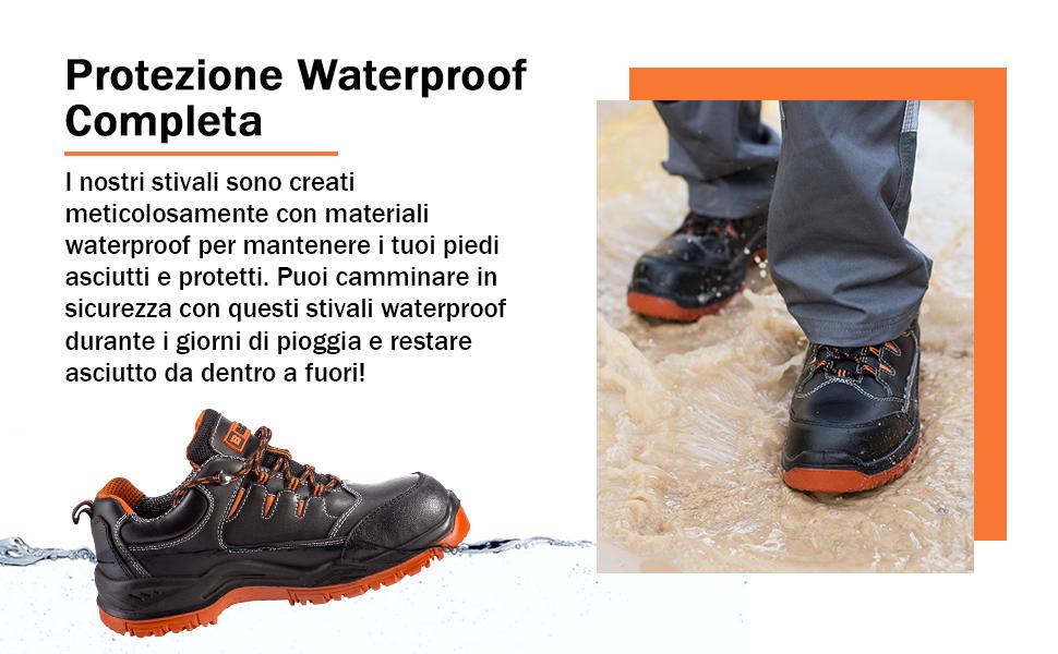 Scarpe da lavoro waterproof, scarpe di sicurezza con presa extra per mantenere i tuoi piedi asciutti