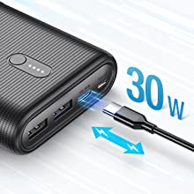 Compact Portable Charger Power Delivery 30W 26800mAh External Battery Fast Charging Power Bank