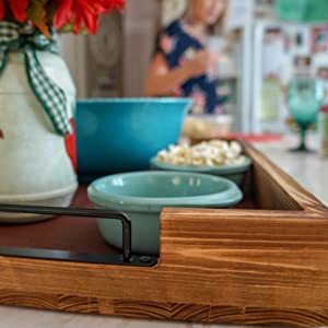 """Large Wood Coffee Table Tray with Handles, Non Slip Serving Tray Mat 19"""" x 13"""" for Ottoman Tray"""