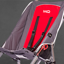 Soft seat cushioning and 5 point adjustable harness on the mobiquip elise special needs stroller