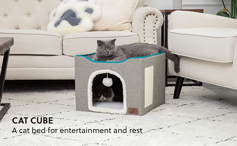 cats in the Bedsure Cat Cube, Foldable Cat Cubes for Indoor Cats, Cat House Indoor - Large Cat Bed with Fluffy Ball Hanging and Scratch Pad