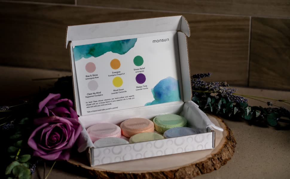 Vapor Shower Bombs with Essential Oils. Self-Care Ideas and Relaxation Gifts for Women.