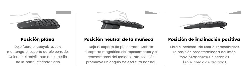 Perixx Periduo-605, Pack de Teclado Ergonómico Inalámbrico, separación de Teclas y Ratón Vertical con reposa muñeca y Teclas de Membrana Low Profile, ...
