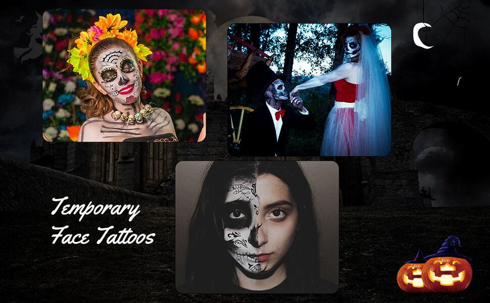 Tatuaje cara temporales Halloween ZERHOK 8pcs etiqueta Mascarada ...