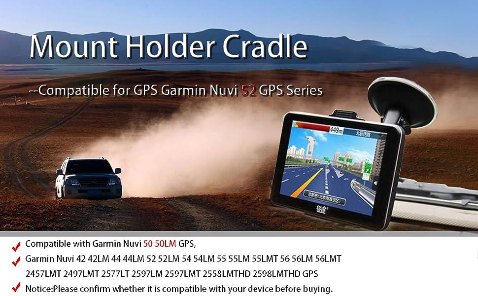 Garmin Nuvi 42 42LM 44 44LM 52 52LM 54 55 2457LMT 2497LMT 2577LT 2597LM 2597LMT 2558LMTHD 2598LMTHD EKIND Car Windscreen Windshield Suction Cup Mount Holder Cradle Compatible for GPS Garmin Nuvi 52