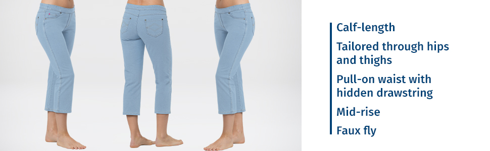 Details about  /New Blue Jeans Capri //cropped pants Raw Hem Stretch Denim 5 pockets
