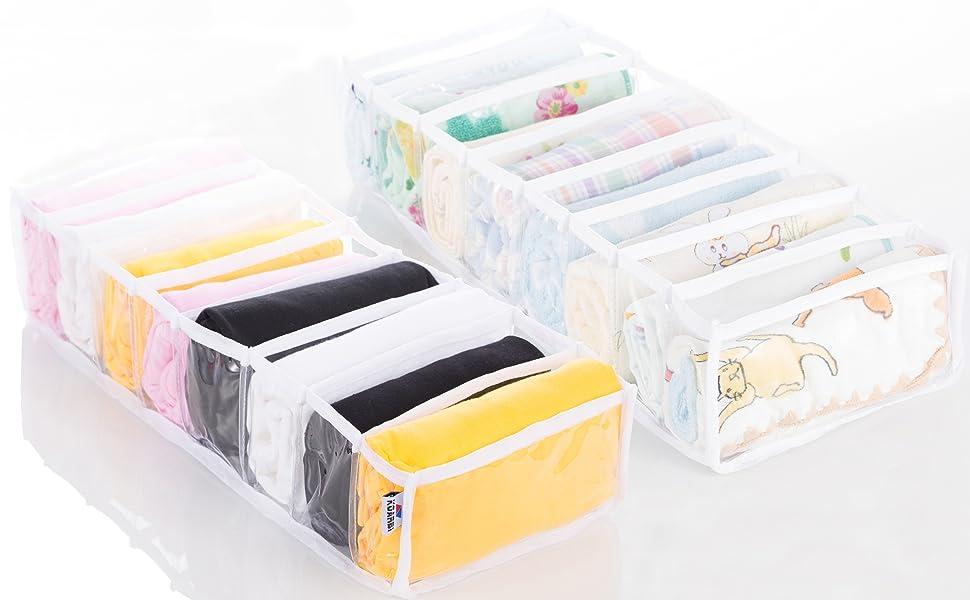Socken Flexibel BHS Faltbar Krawatten Transparent 2er-Set Babykleidung KOARBI Schubladen Organizer Aufbewahrungsboxen f/ür Kleidung Schubladeneinsatz Unterw/äsche