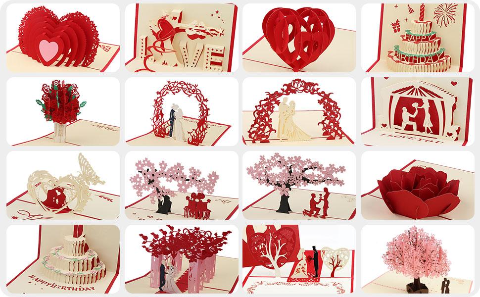 Pop Up Karte Geburtstagskarten Geschenkkarte Gru/ßkarte Birthday Card f/ür Frauen M/ütter Ehefrau Freundin Liebhabers inkl Umschlag Vegena Geburtstagskarte 3D