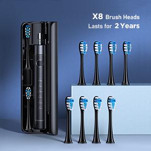 8 brush heads and 1 BPA Free Travel  Case