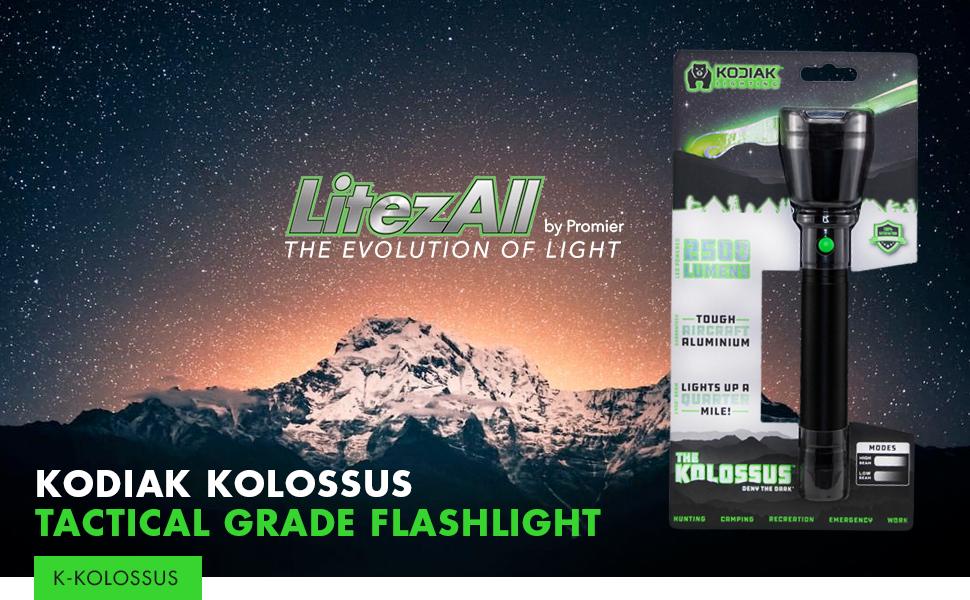 Kodiak Kolossus 2500 Lumen Tactical Grade Flashlight Promier TG-2500LM//4//8//16