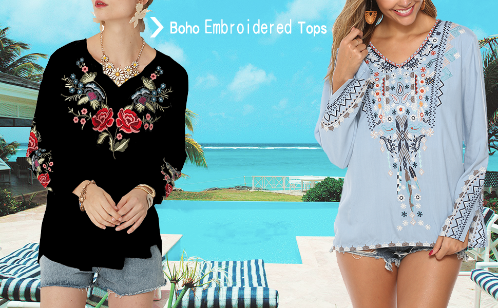embroidery top for women