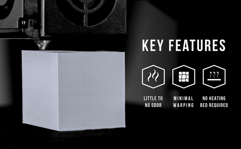 pla key features include minimal warping, easy to use and no heating bed required