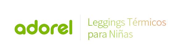 El logo de Adorel en verde y leggings térmicos para niñas en degradado.