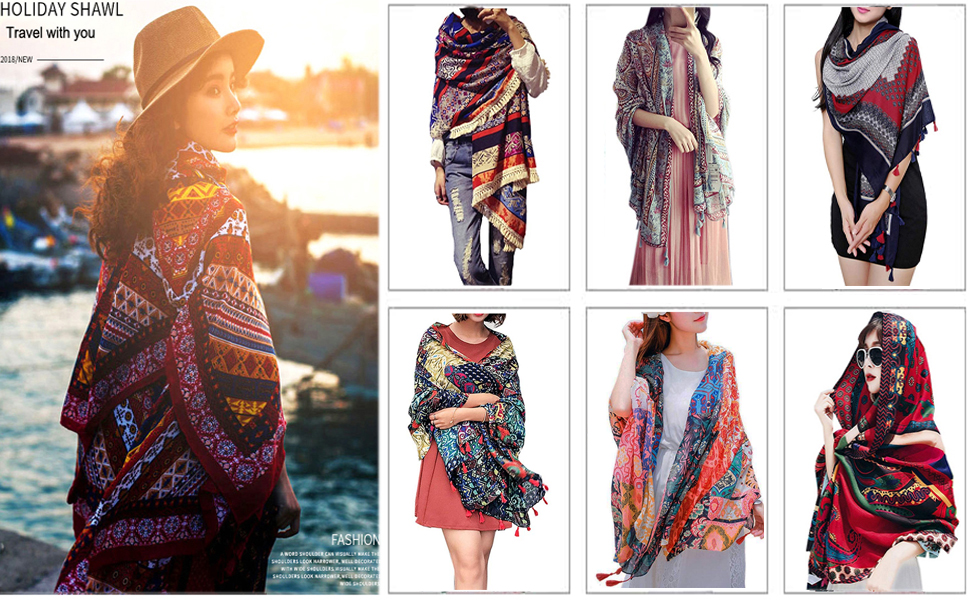 Women/'s Bohemia Folk Warm Blanket Scarf Gorgeous Wrap Shawl With Tassel Printed