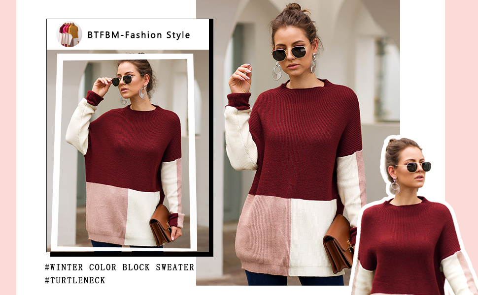 Womens color block knitted sweater