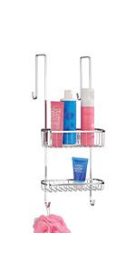 Metal Steel Over Shower Door Caddy Over Door Bathroom Tub/Shower Caddy, Hanging Storage