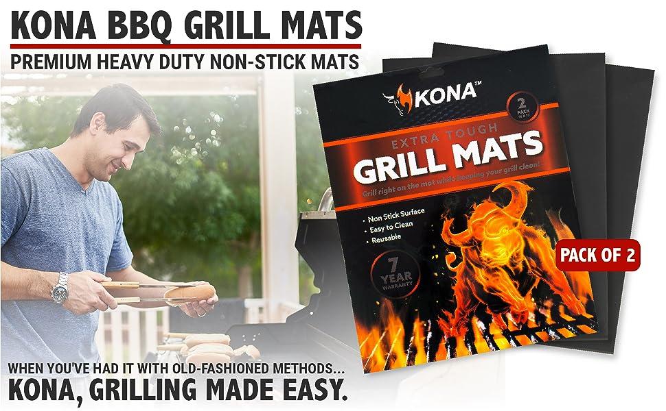KONA BBQ GRILL MATS. Premium Heavy Duty Non-Stick Mats. KONA, Grilling Made Easy