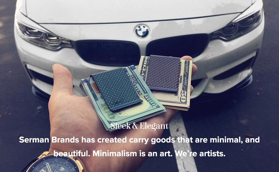 SERMAN BRANDS RFID Blocking Slim Bifold Genuine Leather Front Pocket Wallets