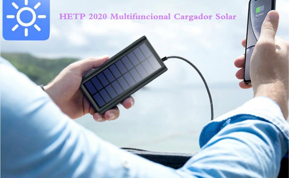 HETP Cargador Solar 26800mAh Batería Externa Power Bank con 2 USB Puertos de Salida Simultánea Solar Powerbank Carga Rapida para Teléfono Inteligente,iPad,Tablet,Drone,Reloj Inteligente,Cámara etc: Amazon.es: Electrónica