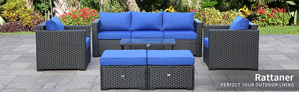 Patio Sectional Furniture Sofa Set 6 Pieces, Armrest chairs, Ottomans, 3-seat Couch, Coffee Table