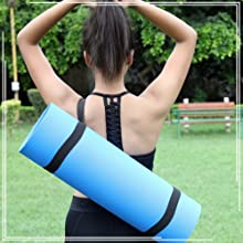 SHOPBOOZ Yoga Mat for Gym Workout and Flooring Exercise - Yoga Mat with Strap for Men Women