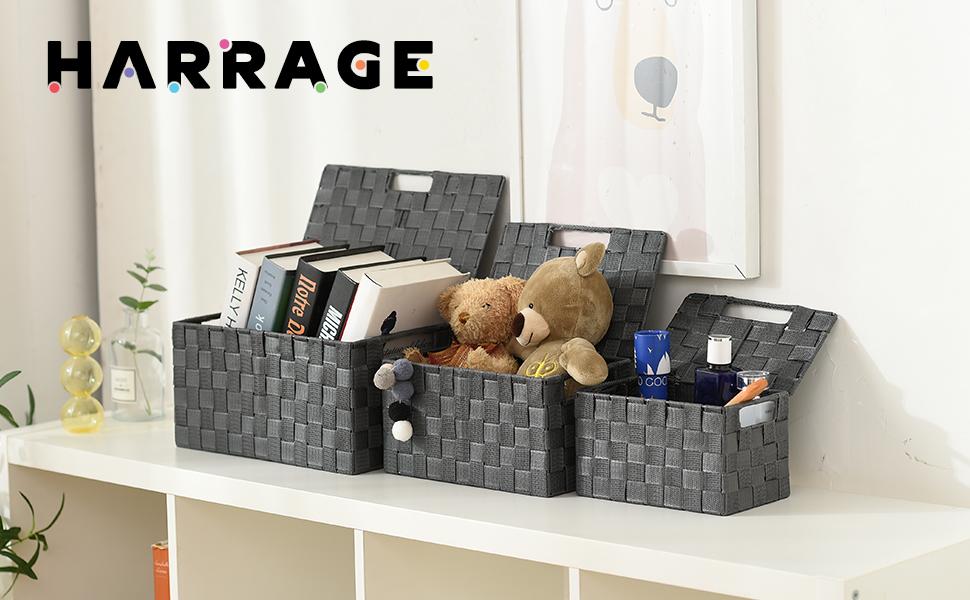 Harrage Decorative Large Basket Storage Boxes with Lids, Portable Cube Baskets for Shelves, Luxury