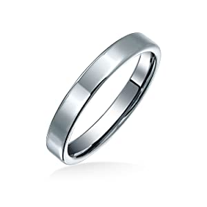 Plain Simple Thin Cigar Flat Couples Titanium Wedding Band Ring Polished Silver Tone Comfort Fit 3MM
