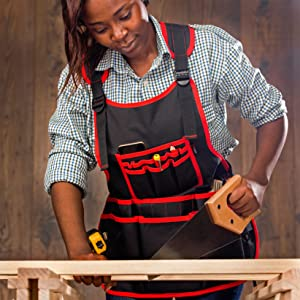 NoCry Heavy Duty Work Apron - 26 Tool Pockets durable and tough