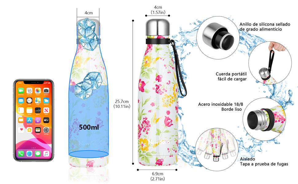 Newdora Botella de Agua Deportiva de Acero Inoxidable, Botella Termica con Doble Aislamiento para 12 Horas de Bebida Caliente y 24 Horas de Bebida ...