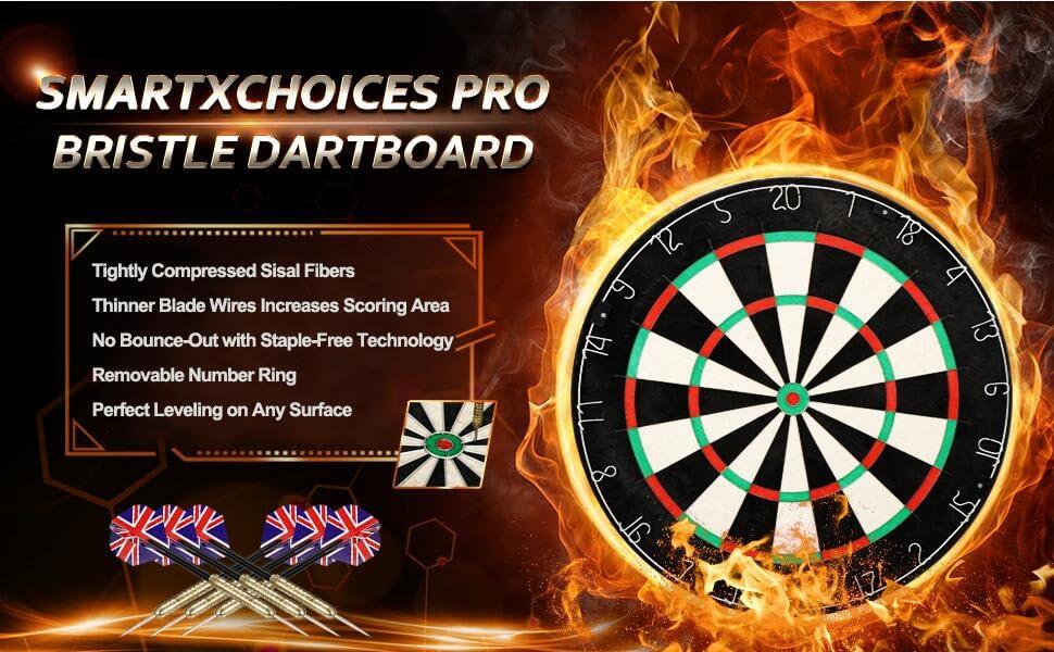 Winmau Pro Sisal Steel Soft Dartboard im Set mit Ständer mobil Darts Board