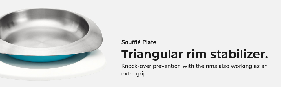 VIIDA, souffle plate, easy grip, stabilize, dining plate, kids plate, stainless steel, eating plate
