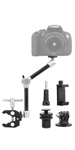 """TOAZOE 11"""" Adjustable Robust Articulating Friction Magic Arm Clamp Holder Mounts Kit"""