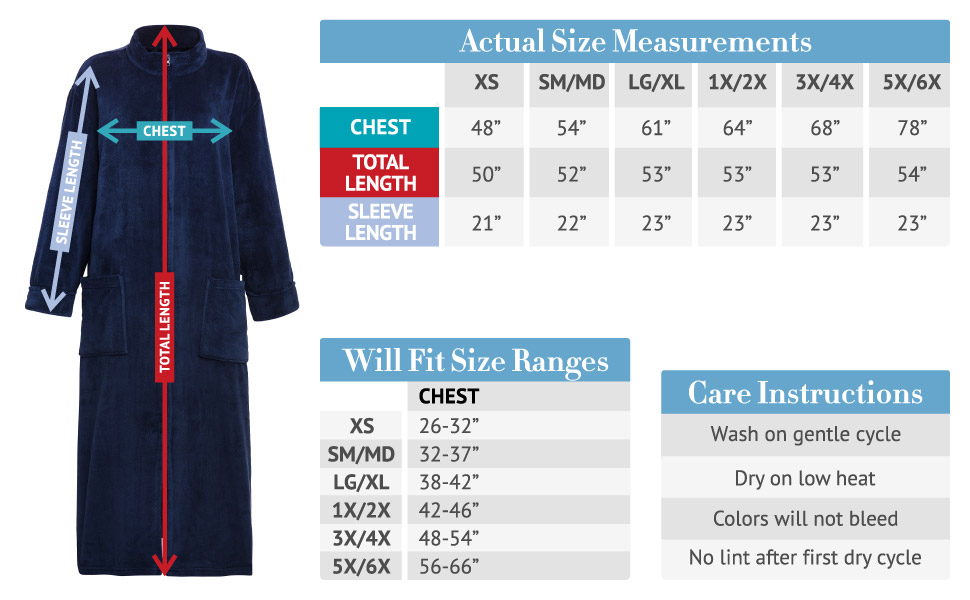 womens full length robe size chart