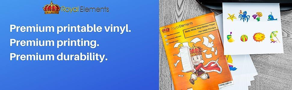 Glossy White Royal Elements Waterproof Printable Vinyl Sticker Paper for Inkjet Printer 10 Sheets