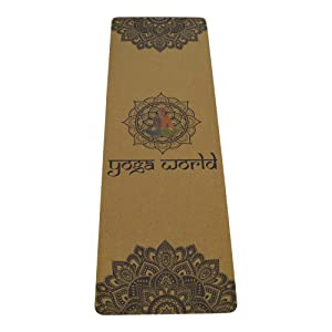 Cork mandala printed colourful mat with lotus position logo in center point to focus