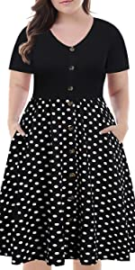 Plus size short sleeve Casual a-line  work party dress